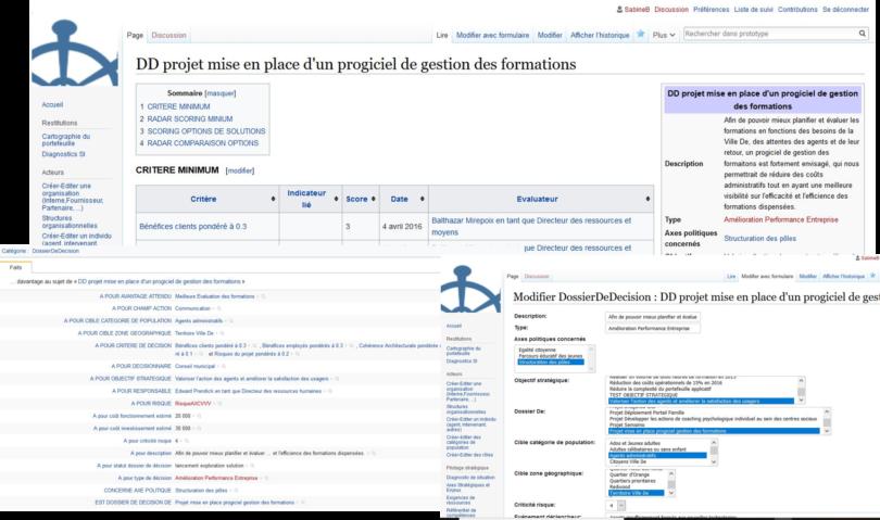 Page d'un wiki sémantique avec formualire et liens